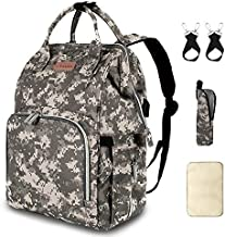Diaper Bag Backpack with USB Charging Port Stroller Straps Insulated Pocket and Changing Pad, Diaper Bag Nappy Backpack for Dad/Boy/Mom/Girl/Toddler, Camouflage by Qwreoia