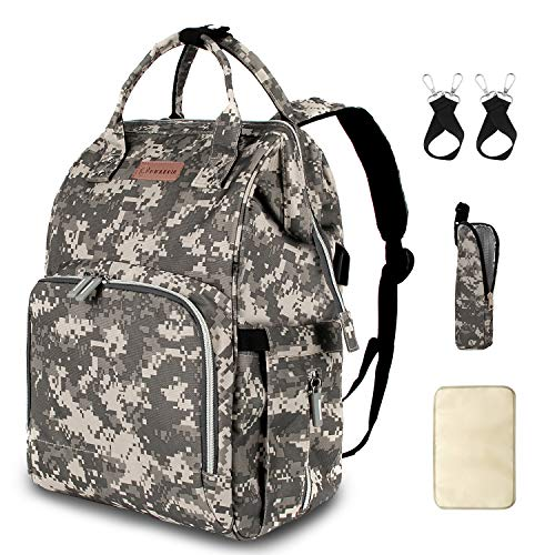 Diaper Bag Backpack with USB Charging Port Stroller Straps Insulated Pocket and Changing Pad, Tactical Diaper Bag Backpack for Dad/Boy/Mom/Girl, Camouflage by Qwreoia