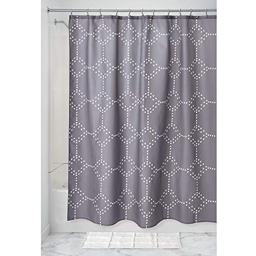 Price comparison product image iDesign Dot Geo Shower Curtain,  Patterned Wide Shower Curtain for the Bath Made of Polyester with Reinforced Eyelets,  Grey