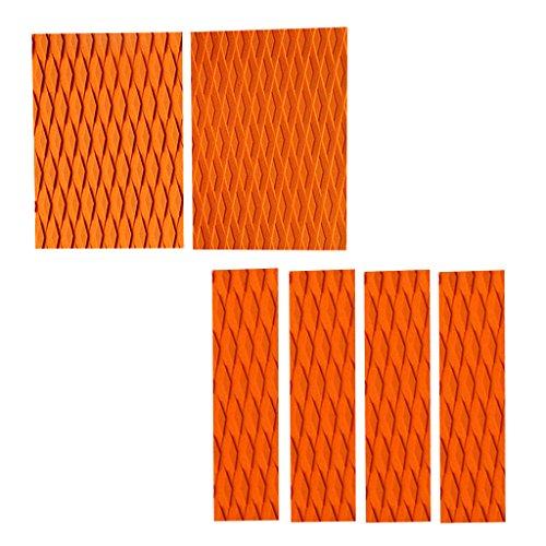 sharprepublic 6Pcs / Set Diamante Ranurado Tabla de Surf Skimboard Tracción Pad Bar Grip Tail Pads