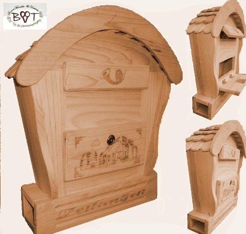 HBK-RD-NATUR Briefkasten mit Holz - Deko aus Holz XXL viele Farben Natur hell Briefkästen Holzbriefkästen Postkasten Runddach mit echt Holzschindel ausgefallen mit Holzdach für Garten Garage Einfahrt Holzhäuser Holzhaus außen und innen