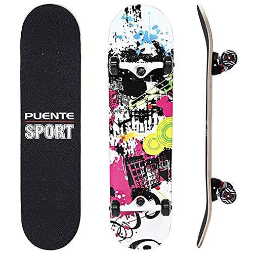 IDE Play Skateboard Deck, Erwachsene Kinder Skateboard, Komplettboard mit ABEC-9 Lager 7-Schicht 92A Hard Maple Deck, 31 x 8 x 4 Zoll,Urban Charming