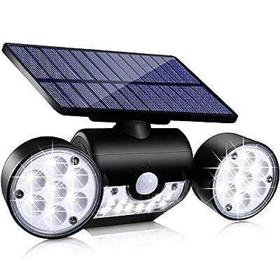 Toyawany Solar Security Lights, 3 Head Solar Motion Sensor Lights Outdoor Adjustable Flood Lights Outdoor Spotlights 360° Rotatable IP65 Waterproof for Porch Garden Patio Yard Garage Pathway (1 Pack)