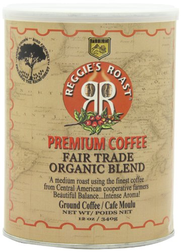 Reggie's Roast Organic, Fair Trade Ground Coffee, 12-Ounce Cans (Pack of 3)