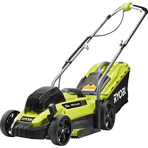 RYOBI P1140-S 13 in. ONE+ 18-Volt Lithium-Ion Cordless Battery Walk Behind Push Lawn Mower - 4.0 Ah Battery/Charger Included (Renewed)