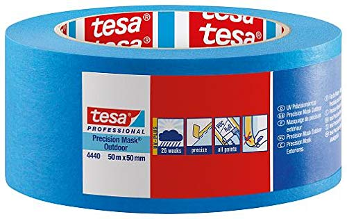 Tesa 4440 hoogwaardig papierband voor het masker van Bordi Netti en precisie buiten, 110 m, 50 m x 50 mm, blauw, verpakking van 18 stuks