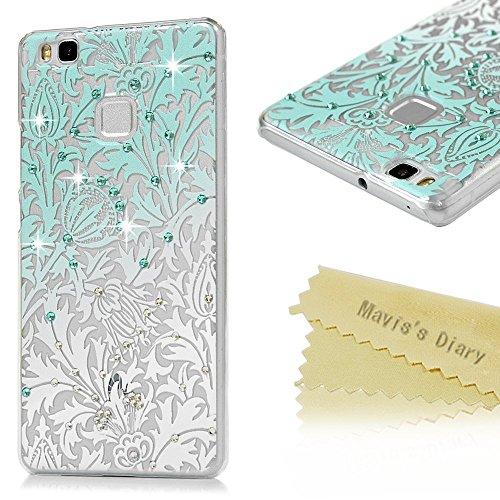 Huawei P9 Lite Custodia Trasparente 3D Glitter Bling Strass DIY Cover - Mavis's Diary Case Fatto a Mano Diamonte,Super Sottile Plastica PC Hard Protettiva - Progettazione Foglie e fiori
