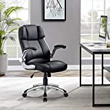 Reclining Office Chair-Big & Tall Executive Office Chair High-Back Executive Home Office Chair Ergonomic PU Desk Task Executive Chair Rolling Adjustable Computer Chair with Lumbar Support (Black)