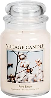Village Candle Pure Linen Large Glass Apothecary Jar Scented Candle, 21.25 oz, White