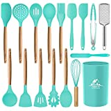 Mibote 17 Pcs Silicone Cooking Kitchen Utensils Set with Holder, Wooden Handles Cooking Tool BPA Free Non Toxic Turner Tongs Spatula Spoon Kitchen Gadgets Set for Nonstick Cookware (Teal)