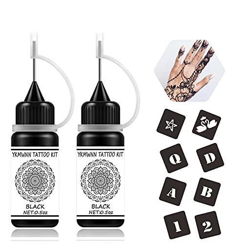 YKLWNN Temporary Tattoos Kit Black Semi Permanent Tattoo Ink Freehand...