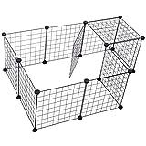Pawhut Valla Metálica para Mascotas con 12 Paneles Parque Metálica para Animales Pequeños Desmontable Diseño DIY Negro 106x73x36cm