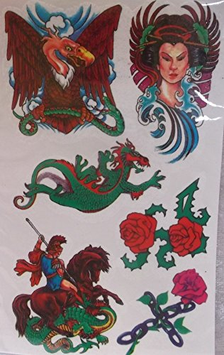 Tattoo Aufkleber Fairy World Fee Drache Rose Gothic Hauttattoo Deko GTB TAT013