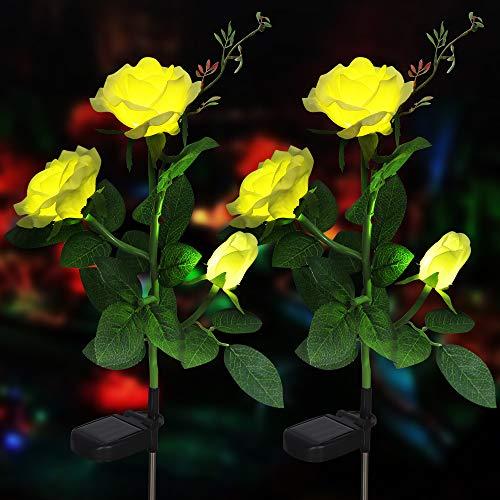 Rose Blume Solarleuchte Outdoor Spazierweg Garten Dekoration Leuchte Solar Blumen Garten Pfahllichter Pefekt Für Terrasse Hof Weihnachten Pfad Dekro (Gelbe Rose, 2 PCS)