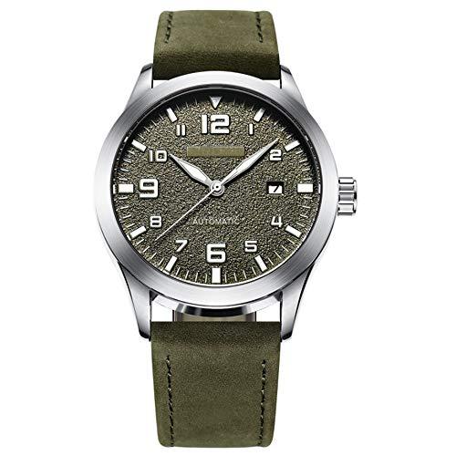 YUN Reloj mecánico automático de los Hombres,Reloj de Hombre Correa de Cuero Impermeable Reloj Regalo Hombre (Color : Green)