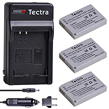 Tectra 3-Pack NB-5L Replacement Battery and Charger for Canon PowerShot S100 S110 SD790 IS SD850 IS SD870 IS SD880 IS SD890 IS SD970 IS SD990 IS SX200 IS SX210 IS SX220 IS SX230 HS Cameras