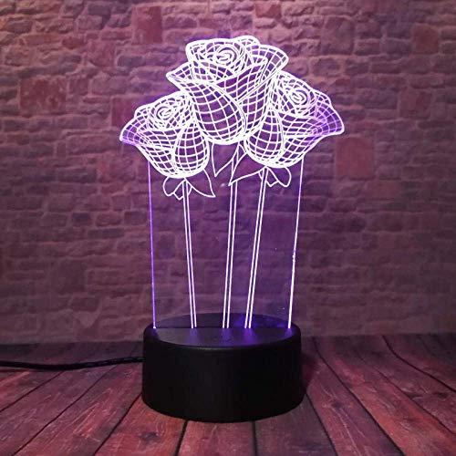 3D Symphony Lights LED Nachtlicht Falsh Rose Pflanze Modell Spielzeug 7 Farbblitze Familie Kinder Party Lieferant Geburtstag oder Weihnachtsgeschenke