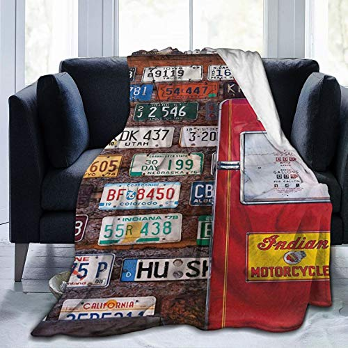 Marutuki Throw Blanket,Various Old American License Plates Behind Antique Gas Pump In Rural Utah,Microfiber All Season Bed Couch,50' x 60'