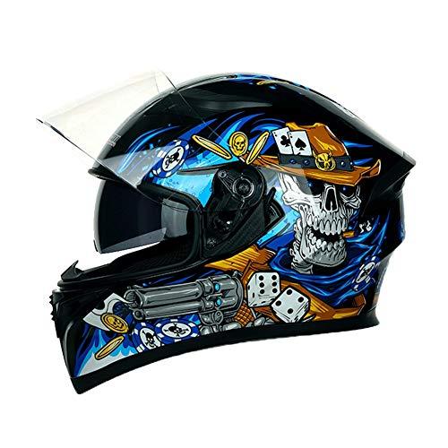 AJJ Casco da Moto Integrale Moschettiere Teschio Blu - Casco da Motociclista per ciclomotore da Corsa per Adulti - Doppia Protezione per Ciclisti Strada Sportiva, Doppia Visiera Parasole