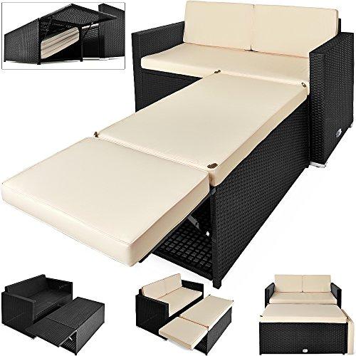 Deuba Poly Rattan Lounge Sofa 2 Sitzer Sitztruhe mit Stauraum Dicke Auflagen Relaxliege Sonnenliege...