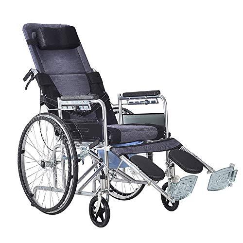 Rollstühle mit Selbstantrieb, Ergonomischer Transportrollstühle, Leichtgewicht für ältere Menschen mit Behinderung, Voll Liegen Rollstuhl Toilettensitze & Kommoden
