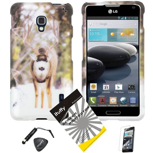3 items Combo: ITUFFY (TM) Mini Stylus Pen + Case Opener + Design Rubberized Snap on Hard Shell Cover Faceplate Skin Phone Case for LG Optimus F6 / D500 / MS500 (T-Mobile/MetroPCS)