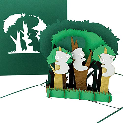 """Pop Up Karte """"Koala-Bären - Koalas Australien"""" - 3D Geburtstagskarte, Souvenir, Einladungskarte & Reisegutschein – Geschenkidee und Deko/Dekoration Australien"""