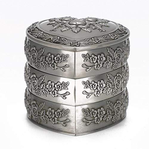 DAUERHAFT Sin óxido, sin desvanecimiento Cajas de Almacenamiento de Joyas de Metal para Collar, Reloj para cumpleaños, (Three Layers)