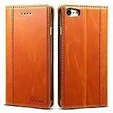 iPhone8 ケース 手帳型 本革 iPhone SE 第2世代 良い触り心地 iphone7カバー 財布型 マグネット式 横置き機能 カード収納 Qi充電対応 Ayakumo アイフォン7、8、SE2用 オレンジ色 -5d21-