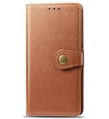 TANYO Hülle Geeignet für Alcatel 3V 2019, Premium Leder Tasche Flip Wallet Case, mit Kartenfächern & Standfunktion, PU-Leder Schutzhülle Brieftasche Handyhülle. Braun