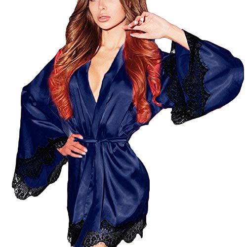 YCQUE Frauen Seide täglich Gebundenes spleiß Kimono Dressing Babydoll Spitze Sexy Dessous Bademantel Nachtwäsche Nicht eingestellten Trägern (Blau, L)