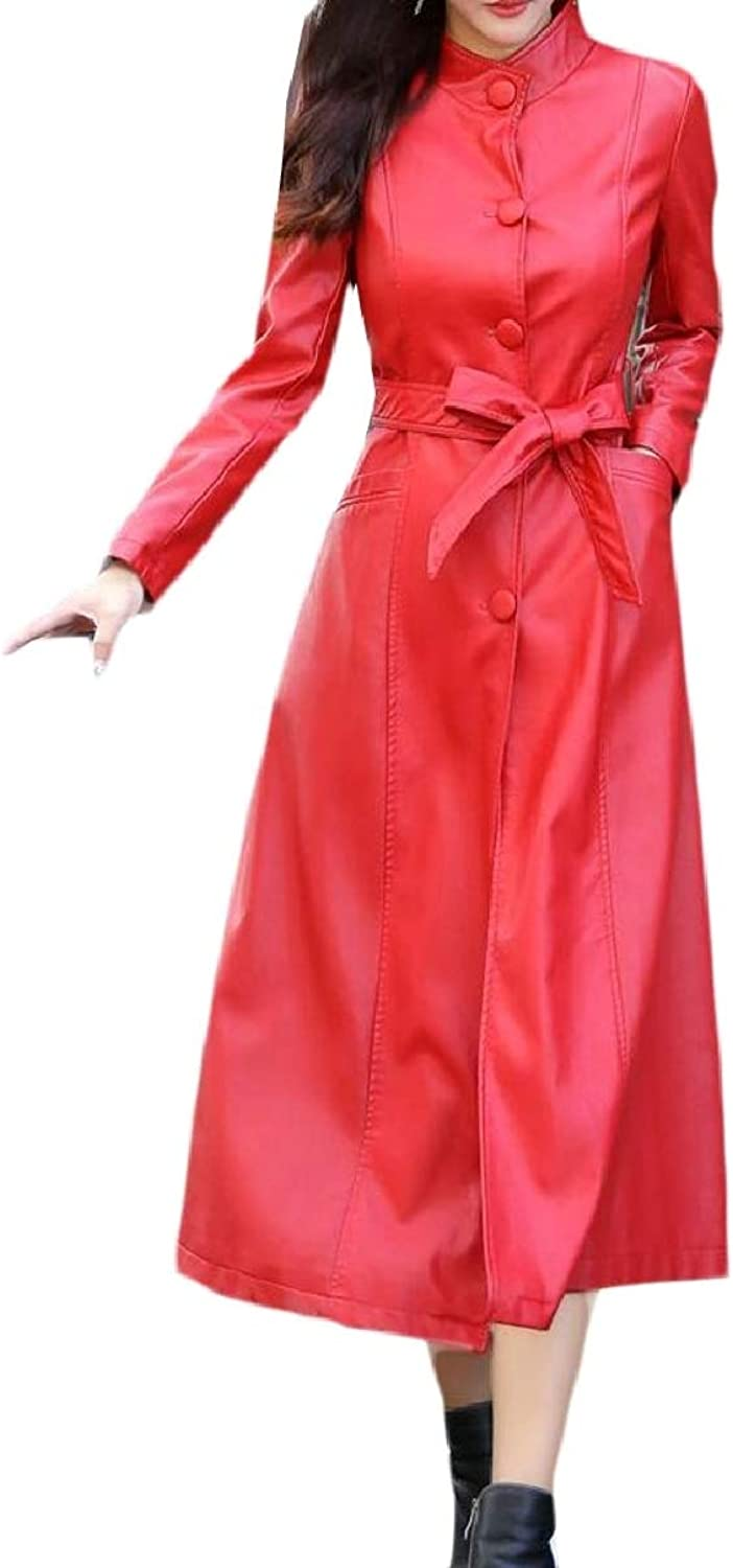 CBTLVSN Women's Plus Size Thick FauxLeather PU Slim Fit Maxi Jacket Trench Coat