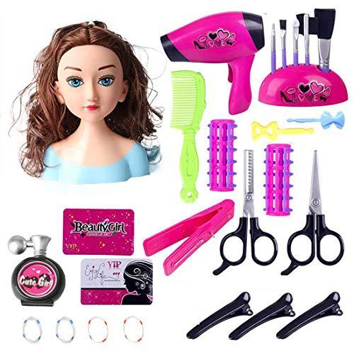 OVERWELL 25pcs Schminkkopf Puppe Frisierkopf Fur Kinder, Styling Head Frisierköpfe für Kinder, inklusiv Kosmetik und Zubehör