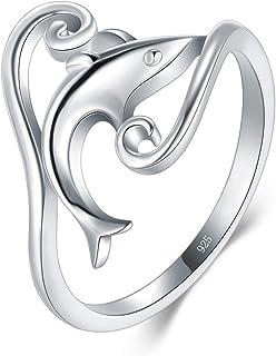 BORUO 925 纯银戒指,高度抛光海豚抗锈蚀舒适贴合婚戒尺寸 4-12