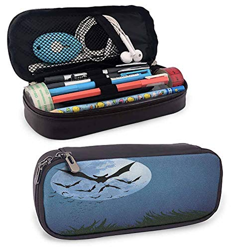 Halloween Portable Carrying Case/Bag/Pouch/Holder, A Cloud of Bats Flying Through The Night with a Full Moon Fall Season for Student Office College Middle School High School Night Blue Black Grey