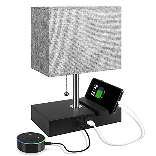 USB Table Lamp with 2 Useful USB Ports, Aooshine USB Bedside Lamp, Suitable for Nightstand Lamp or Bedroom Lamps, Grey Fabric Shade Bedside Table Lamp, with 2 Convenient Phone Stand On The Base