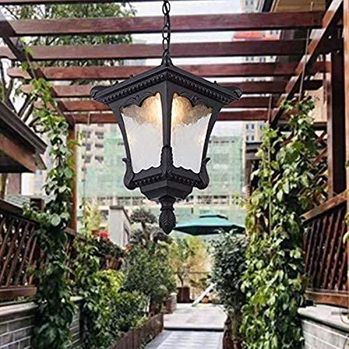 JXJ Candelabro al Aire Libre Patrón de Agua Techo de Vidrio Luz Colgante Victoriano Aluminio E27 Patio Exterior Lámpara Colgante Impermeable Paisaje Rural Linterna de luz Ajustable Villa Porche