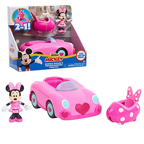 Disney Junior Mickey Mouse Funhouse Transforming Vehicle, Minnie Mouse, Pink Toy Car, Preschool, by Just Play