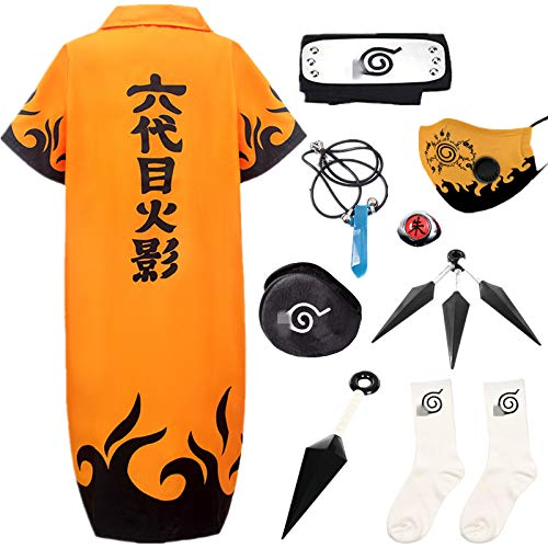 STRDK Naruto Akatsuki Uzumaki Namikaze Minato Kakasi Cosplay Costume Víspera de Todos los Santos Navidad Partido Disfraz Capa Headband Anillo Máscara Calcetín Shuriken Masculino Hembra Niño Armas Set