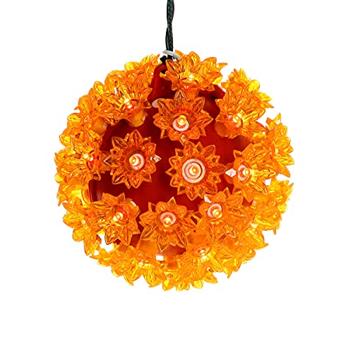 6' Orange Starlight Sphere Lights, Commercial Grade LED Hanging Sphere for Halloween Party, Christmas, Windows, Porches., Gate.