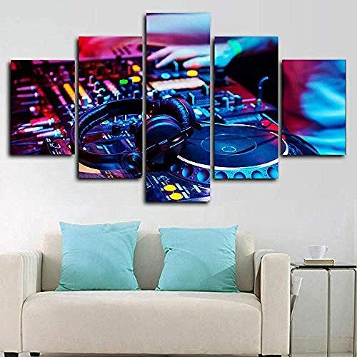 DEZYSDPLXD 5 Tafeln Wandkunst Gemälde HD-Druck 5 Leinwandbilder bilden EIN Gemälde, das für Heimdekoration und Poster verwendet Wird. DJ-Controller-Musikmixer (150 x 80 cm, Rahmenlos)