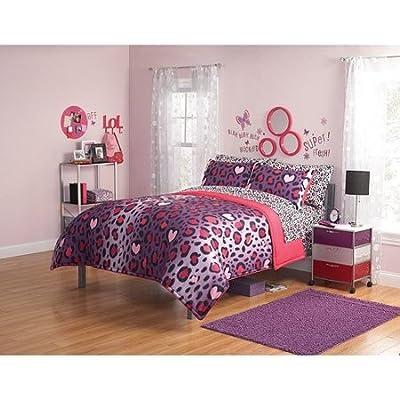 2pc girl pink purple black heart love leopard cheetah print twin comforter set kids 39 teen - Teen cheetah bedding ...