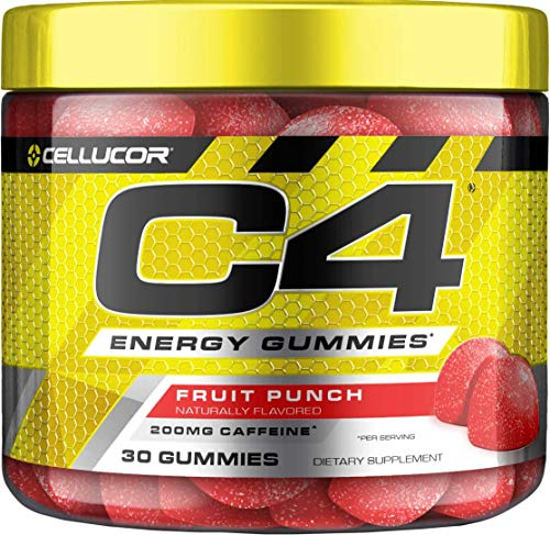C4 Gummies, Daily Pre Workout Energy Gummy Chews with 200mg Caffeine, Energy Booster with Beta Alanine & Fast-Acting Carbohydrates, ICY Blue Razz, 30 Gummies, Fruit Punch