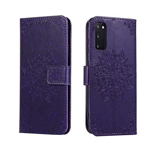 Shockproof LIJM For Galaxy S20 In Reliëf Bloem Van De Caleidoscoop Horizontale Flip Leather Case Met Houder & Card Slots & Wallet (Black) Decoratie (Color : Purple)