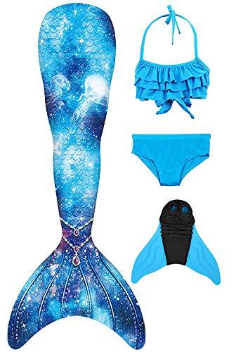 Decool 2019 Neu Mädchen Meerjungfrau Schwanz Badeanzug - Prinzessin Cosplay Bademode für das Schwimmen mit Bikini Set und Monoflosse, 4 Stück Set Ps03 130-140