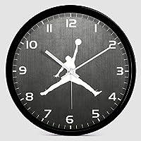 TXOZ 壁掛け時計、12インチサイレントクォーツ時計装飾、NBAラウンド現代壁時計アラビア数字ホーム/キッチン/オフィス/学校時計読みやすくします (Color : ブラック, Size : 12inch)