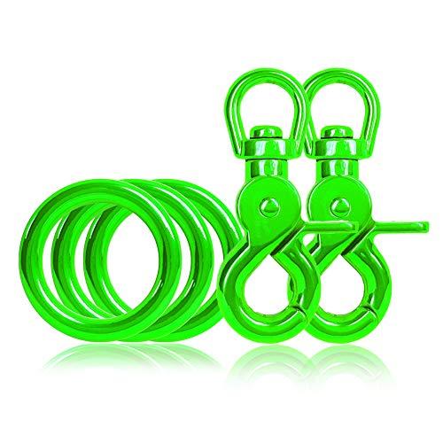 Ganzoo 3 x O - Ring aus Stahl und 2 x Scheren-Karabiner Haken mit Dreh-Gelenk/Dreh-Kopf im Set, DIY Hunde-Leine/Hunde-Halsband, nichtrostend, Ideal mit Paracord 550, Farbe: grün