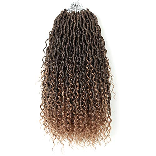 5packs NEW Goddess Locs Crochet Hair 18 Inch River Fauxs Locs Wavy Crochet With Curly Hair In Middle And Ends passion twist Synthetic Braiding Hair Extension(18 inch, T27)