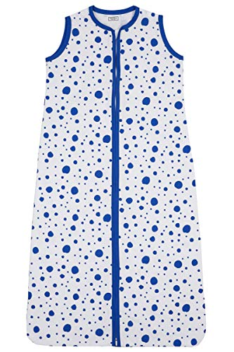 Meyco 411934 Sommer Schlafsack 90cm ungefüttert 100% Baumwolle 6-18 Monate DOTS motiv Bright Blue-Weiß, mehrfarbig