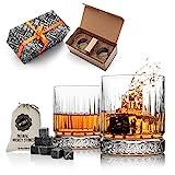 Juego de 2 vasos de whisky y vasos de whisky, juego de regalo de whisky para hombres. Juego de vasos de whisky como regalo de 40 cumpleaños para él ( …
